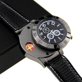 creative multi-function electric metal watch lighter windproof fire starter for outdoor
