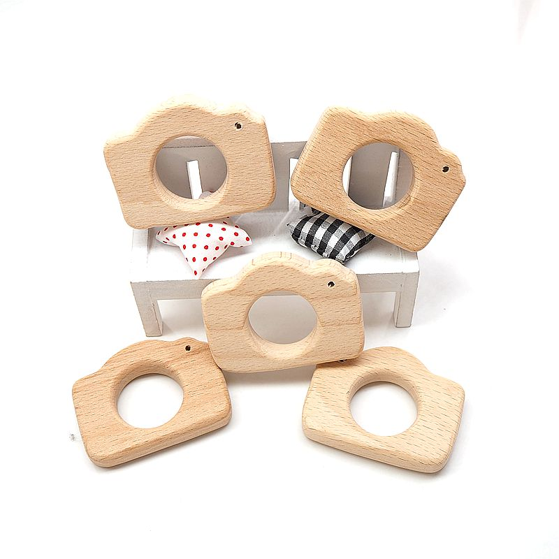 Chenkai 10pcs Wooden Camera Teether Nature Baby Rattle Teething Grasping Toy DIY Organic Eco-friendly Wood Teething Accessories