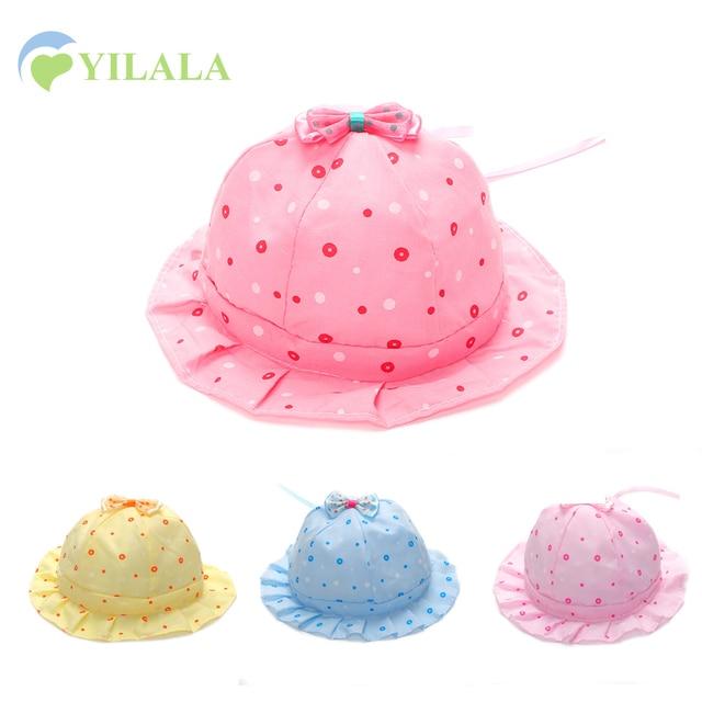 29d9bf86e09 Panama Baby Hat BowKnot Girls Sun Hat Newborn Baby Spring Summer Cap Sweet Girls  Dots Bucket