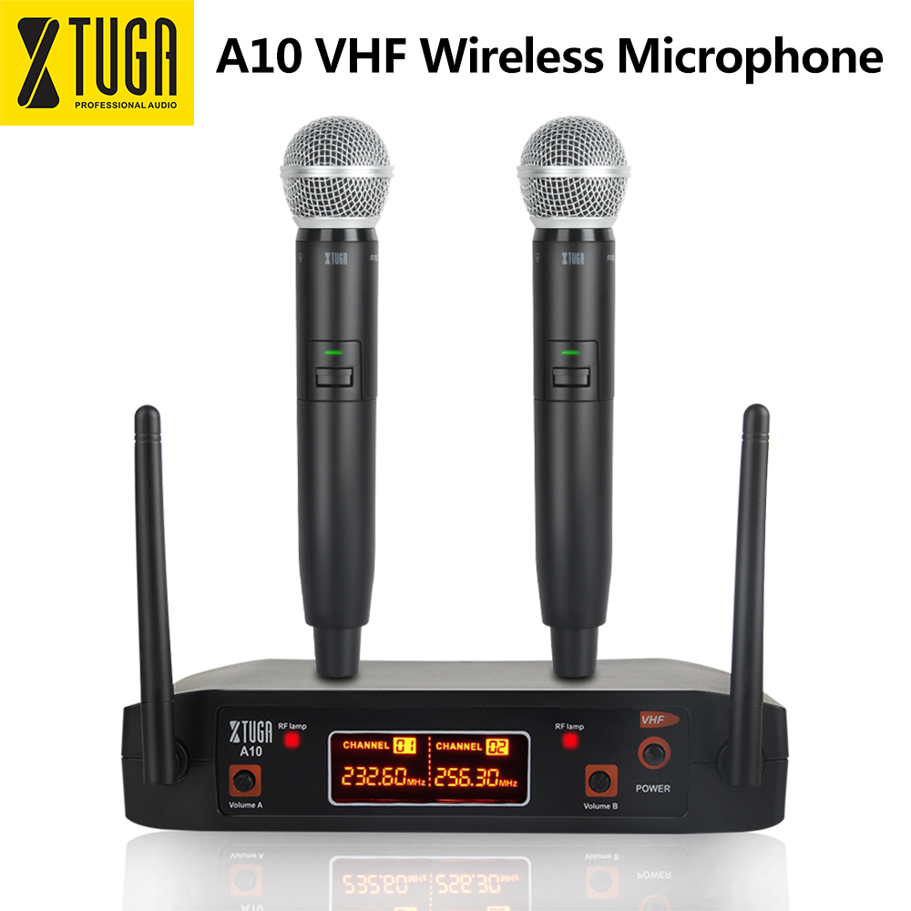 Xtuga A-10 2 Channel VHF Wireless Microphone System design with 2 HandHeld Wireless Mic for Karaoke/Family Party/ChurchXtuga A-10 2 Channel VHF Wireless Microphone System design with 2 HandHeld Wireless Mic for Karaoke/Family Party/Church