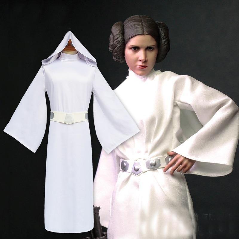 white cosplay leia Princess dress