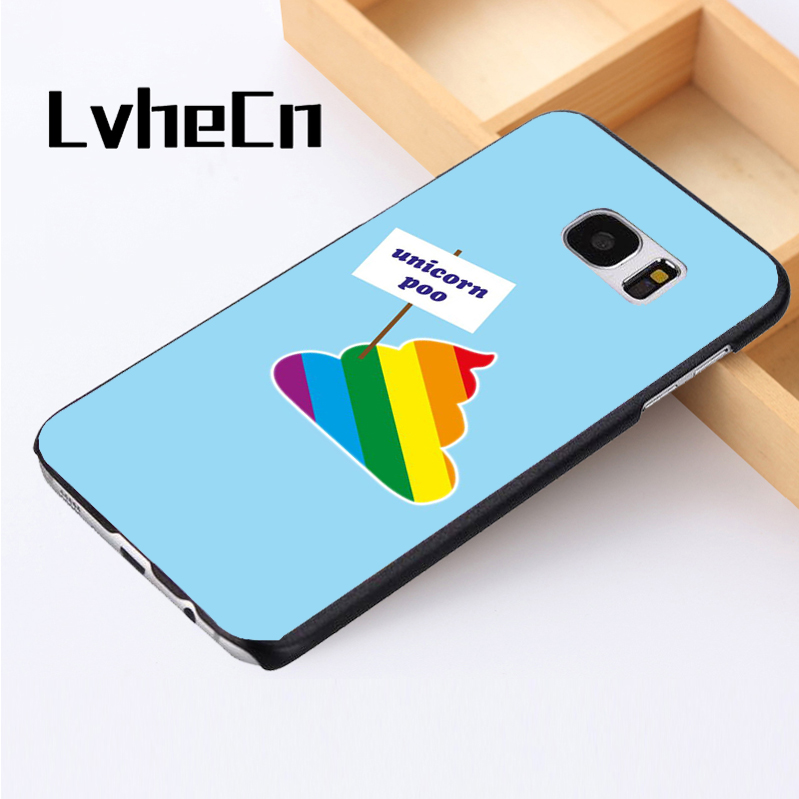 LvheCn phone case cover For Samsung Galaxy S3 S4 S5 mini S6 S7 S8 edge plus Note2 3 4 5 7 8 Funny Unicorn Poo Joke Colourful