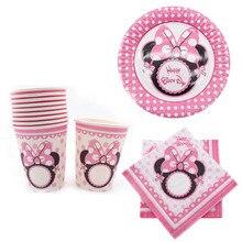 40 adet Minnie Mickey Bardak Tabak Peçete Tek Kullanımlık sofra PARTI malzemeleri doğum günü Noel Düğün Dekorasyon bebek duş