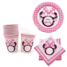 40 pièces Minnie Mickey tasse plaque serviettes jetables vaisselle fête fournitures anniversaire noël mariage décoration bébé douche
