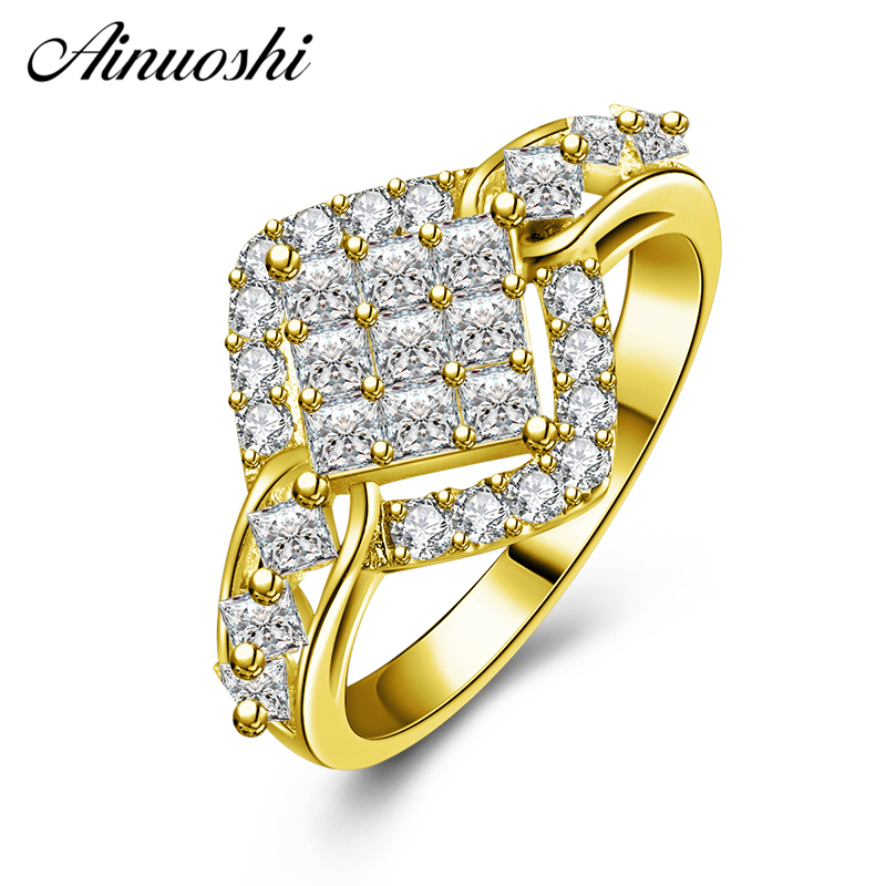 AINUOSHI 10K Solid Yellow Gold Wedding Band Princess Cut Hollow Diamond Cluster Ring Luxury Engagement Jewelry for Women Male punk style solid color hollow out ring for women
