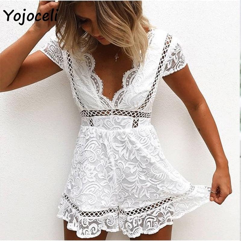 Yojoceli 2018 sexy bodcyon elegant lace jumpsuit rompers women v neck lace crochet rompers party club white black lace rompers