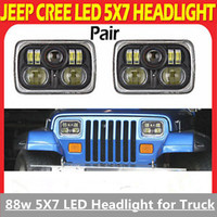54W Hi 45W low beam 5x7 off road LED Headlight, 5x7 Projector Headlight coversion with Hi/low beam for Jeep YJ