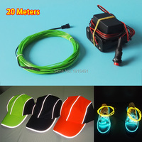 10 Colors Choice 20M 1 3mm Flexible EL Wire Tube Rope LED Thread Powered By Batteries