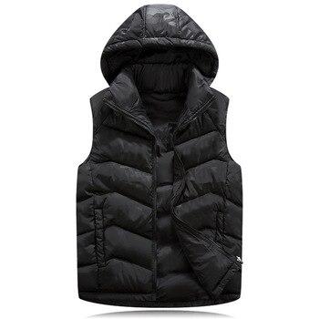 New Mens Jacket Sleeveless veste homme Winter Fashion Casual Coats Male Hooded Cotton-Padded Men's Vest men Thickening Waistcoat