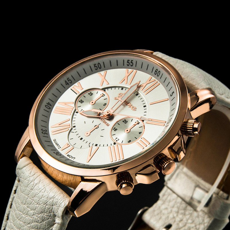 Top Brand Casual Geneva Unisex Luxury Gold High Quality Quartz Watch Couple Leather Strap Wrist Watches Fashion Relogio Feminino