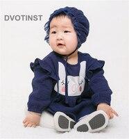 Dvotinst Newborn Baby Girls Clothes Dresses Bodysuits Rabbit Ruffled Dress+Hat Cute Outfits Infant Toddler Jumpsuit Costume