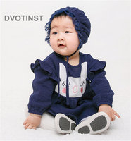 Dvotinst Newborn Baby Girls Clothes Dresses Bodysuits Rabbit Ruffled Dress+Hat Cute Outfits Infant Toddler Jumpsuit Costume