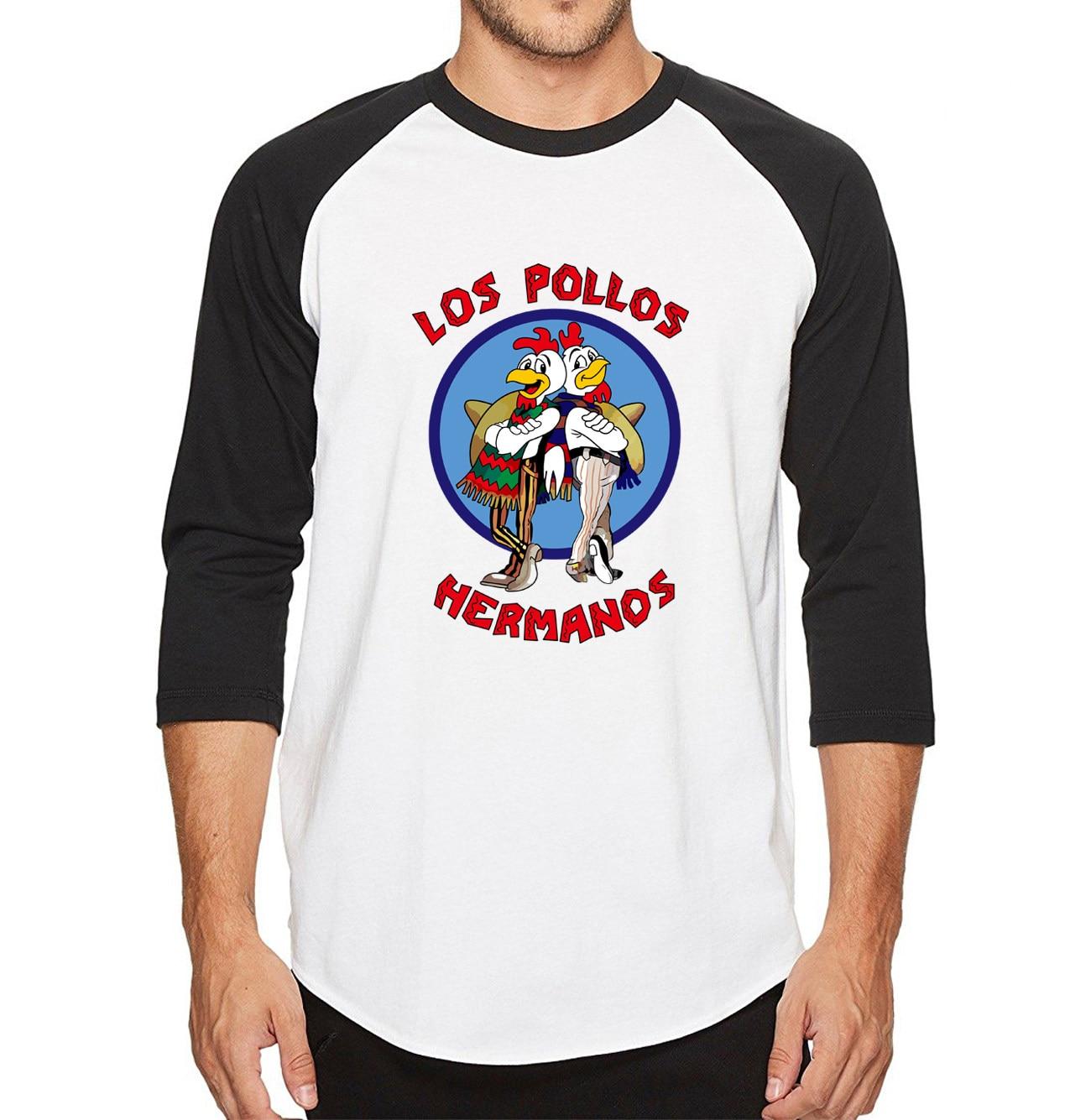 343323e3fa Hombres 2018 nuevas camisetas pollo hermanos camisetas 100% algodón alta  calidad tres cuartos manga Hipster