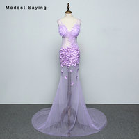 Purple Luxury Transparent Mermaid Flowers Evening Dresses 2018 Sexy Sheer Women Long Party Prom Gowns vestido longo de festa