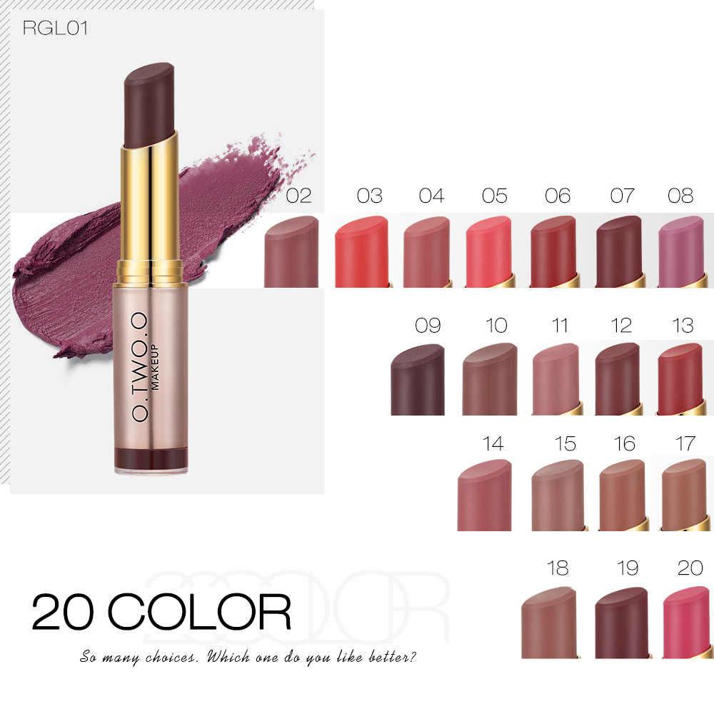 O.TWO.O 20 colores pintalabios mate maquillaje desnudo A prueba de agua colorete de larga duración A Levre Mat Labiales lápiz labial