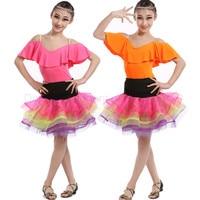 New girls latin dance costumes sexy senior spandex short sleeves+short skirt 2pcs latin dance set for girls latin dance suits