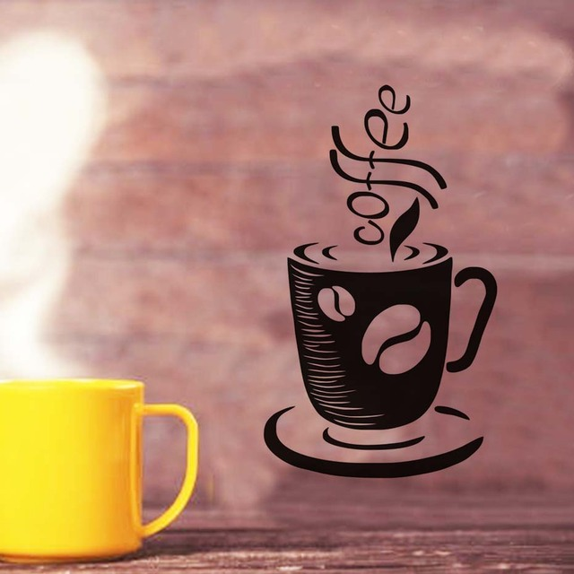 Aliexpress.com : Buy Wall Sticker Coffee Cup Mural Art Coffee Shop ...