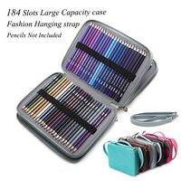184 Slot Portátil Colorido Titular Caixa de Lápis À Prova D' Água de Grande Capacidade PU Saco do Lápis de Couro Para Presentes do Estudante Fontes Da Arte