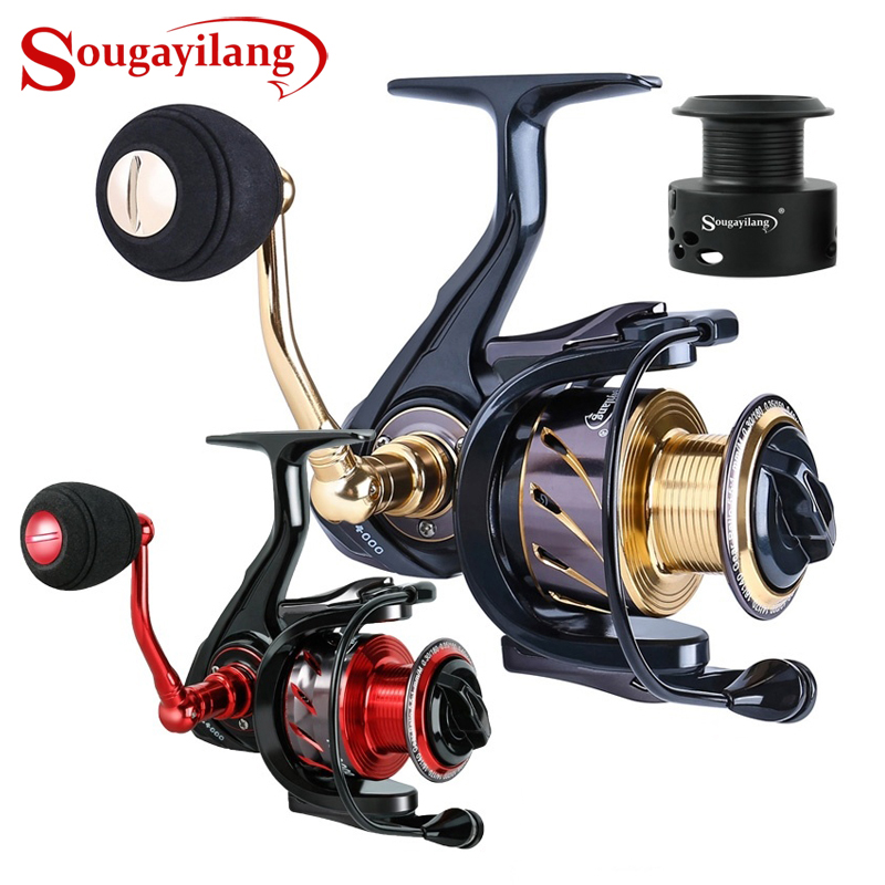 Sougayilang Fishing Reel 13 +1BB 5.2/5.5:1High Speed Gearing Silent Drive Braking System Spinning Reels With Free Spare Spool