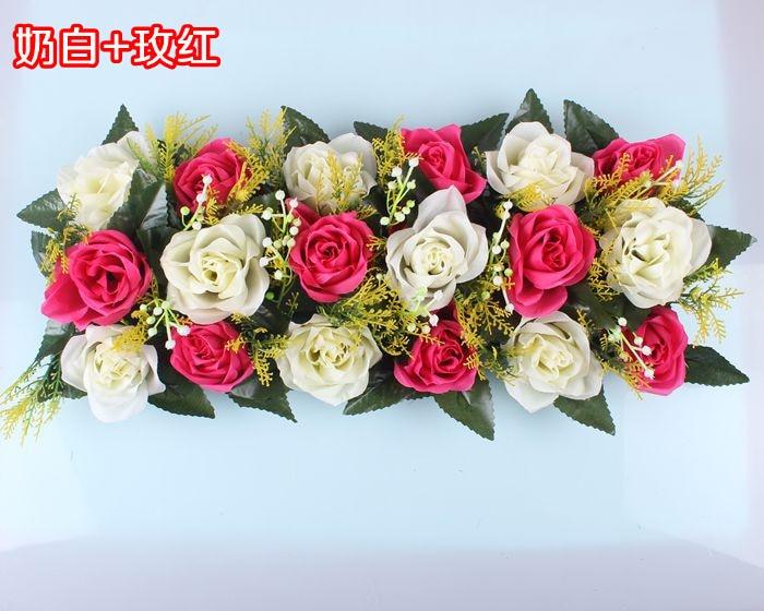 Свадебная композиция Свадебные Искусственные Свадебные шелковые розы арки цветочное свадебное украшение ряд цветов рамка с цветами 10 шт./партия - Цвет: FD09