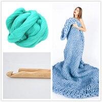 500g/Ball Super Soft Thick Merino Wool Yarn DIY Crafts Hand Knitting Woollen Yarn for Hat Blanket + 25mm Crochet Hook Gift