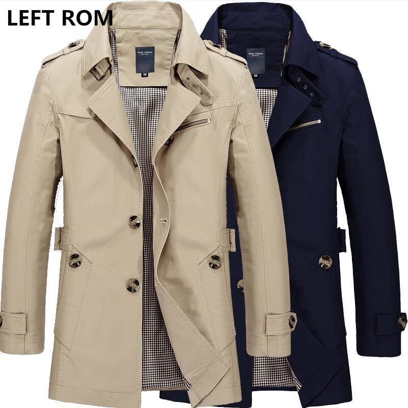 LEFT ROM 2017 New Fashion <font><b>men</b></font> are upscale in winter <font><b>slim</b></font> Fit Casual trench coat/male pure color Pure cotton long jackets S-5XL