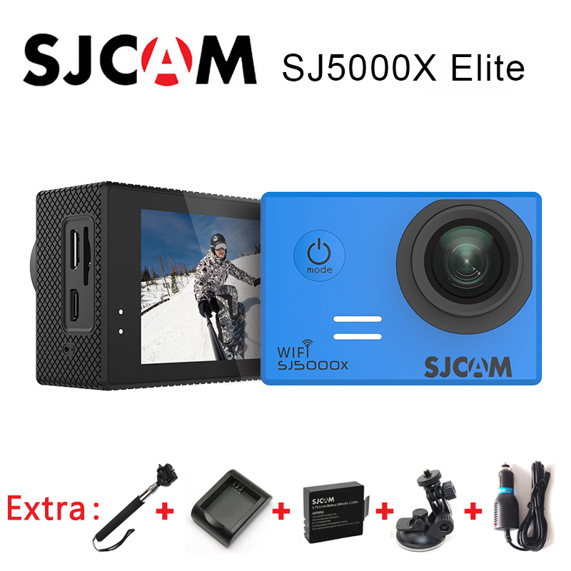SJCAM SJ5000X Elite WiFi 4K 24fps 2K 30fps Gyro Action Camera+Extra 1pcs Battery+Battery Charger+Car Charger+Car Holder+Monopod