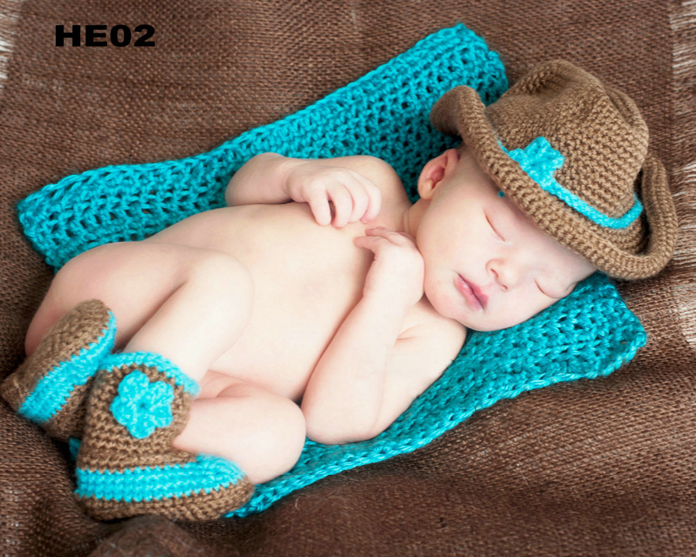 454e2c927b8c8 Free Shipping 30set lot Crochet baby cowboy hat and booties sets newborn cap  snow boots baby Photography Props baby hat caps-in Hats   Caps from Mother  ...