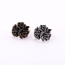 Retro Antique Silver & Antique Gold Color Alloy Flower Rings For Women Vintage Finger Ring Indian Jewelry(China)