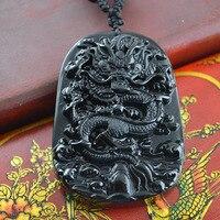 Antigo Dragão Chinês Símbolo do Poder Imperial Pingente Preto Obsidian Esculpido Jóias Para Homens e Mulheres de Jóias