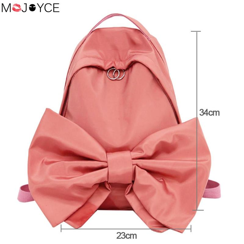 Sweet Bowknot Simple Backpack Watermelon Red School Bags Teenager Girls Solid Students Cute Candy Color Rucksacks Gift ...