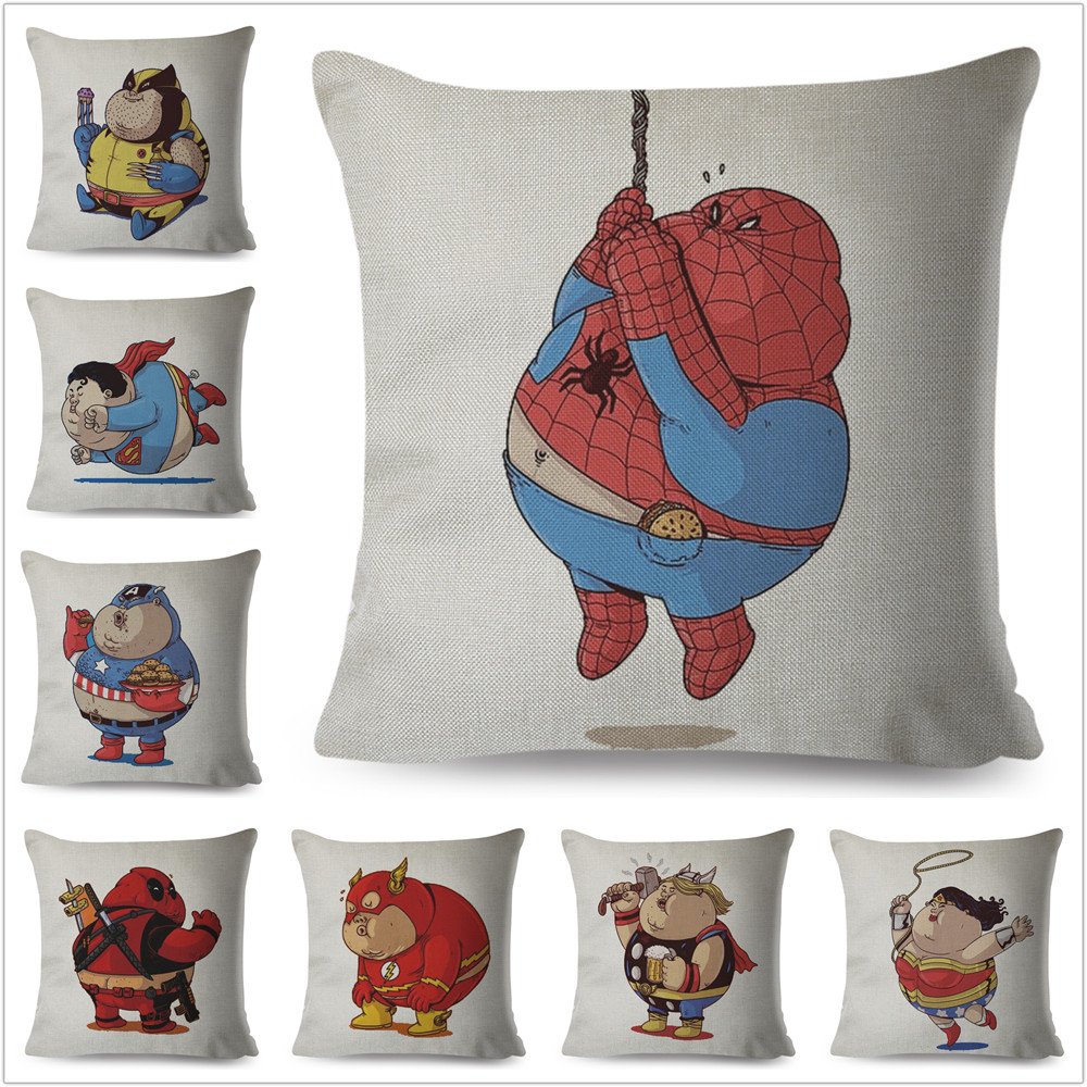 Cute Cartoon Fat Marvel Avengers Superman Iron Man Spider-man Pillow Case Cushion Cover For Sofa Decor Throw Pillowcase
