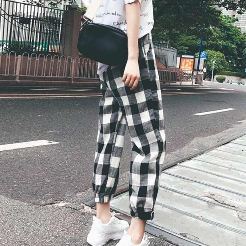 Caliente 2019 nuevo de moda Casual de las mujeres pantalones ropa imprimir cuadros hembra sueltos pantalones ropa de otoño