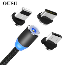 OUSU 3 in 1 USB Cable Magnetic Charging For iphone xr 7 xs Lightning Type C Micro Charger Android