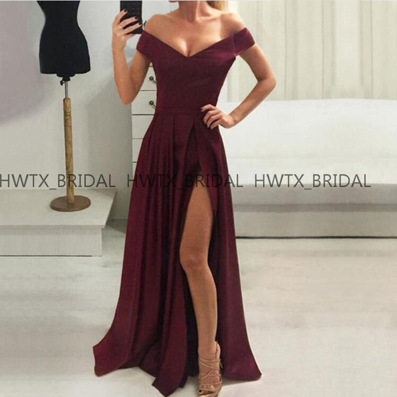 Vestidos de fiesta de noche Burgundy Simple Long   Evening     Dress   Off The Shoulder A Line High Slit Women Formal Party Gown 2019