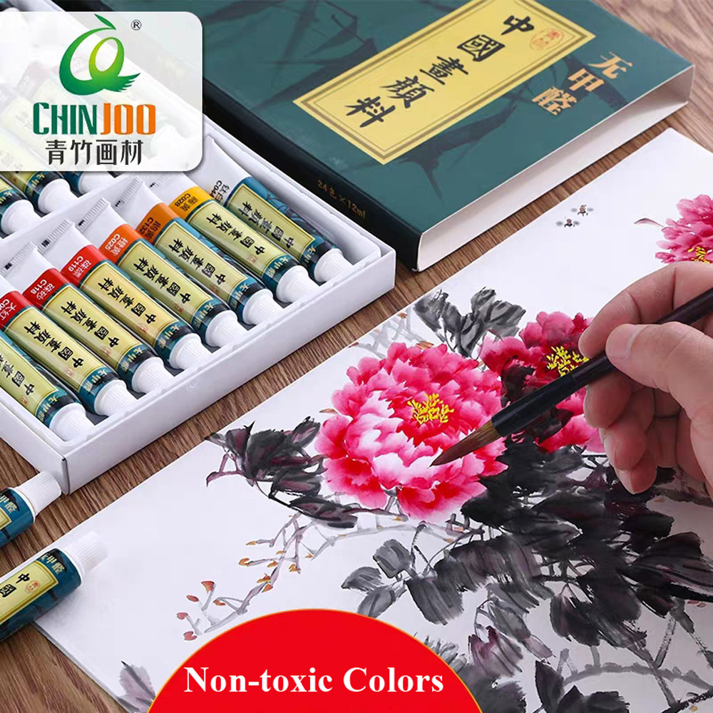 Confucius Institute 12/18/24 Colors Chinese Paint Set Chinese Painting Pigment 12 ML Water Soluble Colors For Drawings