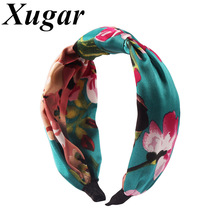 Retro Floral Printed Silk Cross Headbands For Women Bohemian Hairbands Summer Turban Knotted Hair Band Lady Accessories