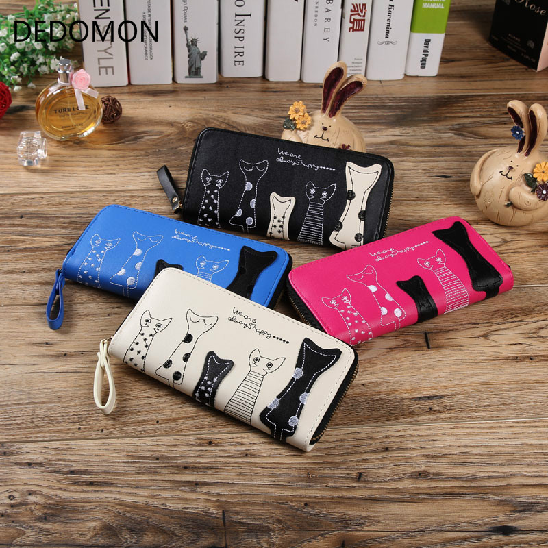2018 Cat Cartoon Long Women Wallet Leather Creative Female Cion Purse ID Card Holder Casual Loop Zip Ladies Day Clutch Phone Bag j bg pink new 2017 women cute cat cartoon wallet long creative card holder casual ladies clutch pu leather coin purse
