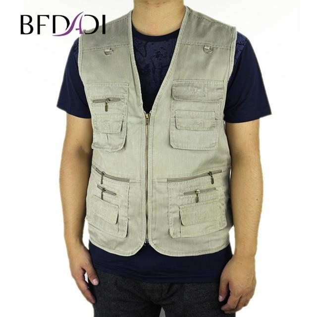 2017 Summer Men's Hot sale Plus Size 4XL 5XL Jacket Denim Vest Casual Multi-pocket Waistcoat Men Free Shipping