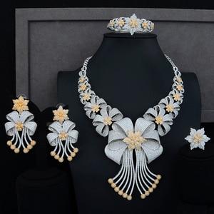 Image 1 - Siscathy תכשיטי הצהרת יוקרה סט CZ גדול פרח צווארון שרשרת להתנדנד עגילי צמיד תכשיטי נשים חתונת סטים