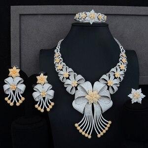 Image 1 - Siscathy Luxe Statement Sieraden Set CZ Grote Bloem Kraag Ketting Dangle Oorbellen Bangle Ring voor Vrouwen Bruiloft Sieraden Sets