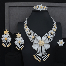 Siscathy Luxury Statement Jewelry Set CZ Big Flower Collar Necklace Dangle Earrings Bangle Ring for Women Wedding Jewelry Sets цена 2017