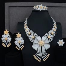 Siscathy Luxus Erklärung Schmuck Set CZ Große Blume Kragen Halskette Baumeln Ohrringe Armreif Ring für Frauen Hochzeit Schmuck Sets