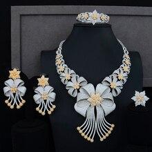 Siscathy luksusowe komunikat biżuteria zestaw CZ duży kwiat kołnierz naszyjnik Dangle kolczyki bransoletka pierścień dla kobiet biżuteria ślubna zestawy