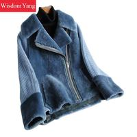 Winter Warm Genuine Leather Sheepskin Shearing Coat Beige Pink Blue Jackets Coat Women Short Sweater Coats Overcoat Outerwear