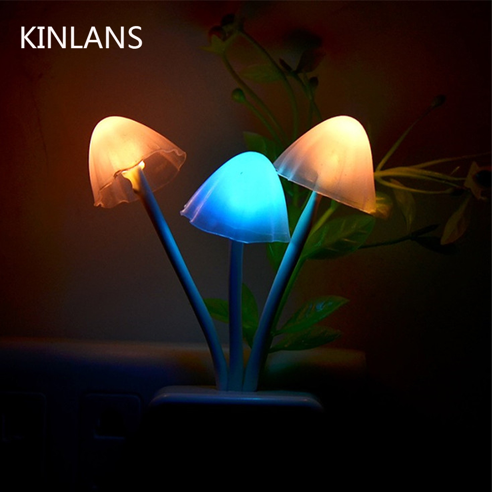 LED Mushroom Night Light US EU Plug Romantic Colorful Bulb Bedside Atomsphere Lamp Home Illumination Decoration Switch Or Sensor
