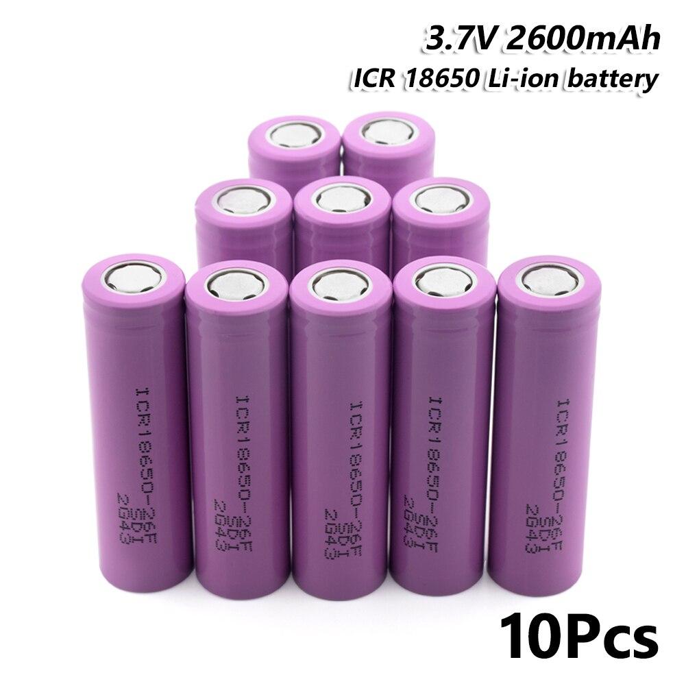 10 pièces batterie Rechargeable ICR 18650 26F 2600 mAh 3.7 V pour torche Mini ventilateur jouet pour stylo Laser lampe de poche LED support de batterie de cellule