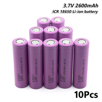 10Pcs Rechargeable ICR 18650 26F Battery 2600mAh 3.7V For Torch Mini Fan Toy for Laser Pen LED Flashlight Cell battery holder