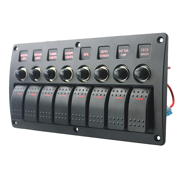 8 Gang LED Boat Rocker Switch Panel Circuit Breakers DC 12/24V For Car Marine Steamship Yacht Motorhomes Trailer RV Camper Truck