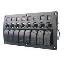 8 Gang LED tekne Rocker anahtarı paneli devre kesiciler DC 12/24V araba deniz vapur yat Motorhomes römork RV Camper kamyon